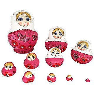 Arundeal Wooden Russian Girls Matryoshka Nesting Dolls with Pink Dress and White Headscarf, Set of 10, 6 Inches