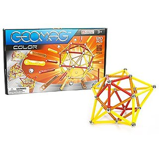 MAGNETIC ENGINEERING - This playset contains 57 red, yellow, and orange magnetic rods and 56 non-magnetic steel balls t
