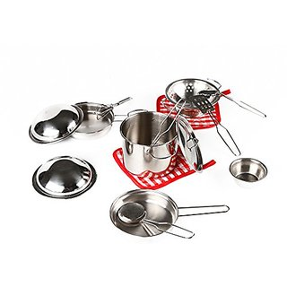 Vidatoy My First Play Kitchen Toys Pretend Cooking Toy Stainless Cookware Playset For Kids