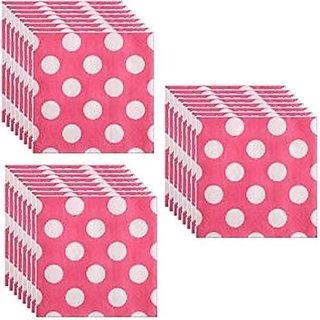 Hot Pink Polka Dot Party Beverage Napkins - 3 pack of 16 ct