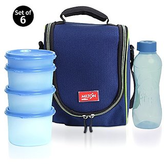 Milton LUNCH BAG ~ SET of 6 ~ Insulated Lunch Box With Reusable and Leak Proof Containers and Water Bottle High Quality