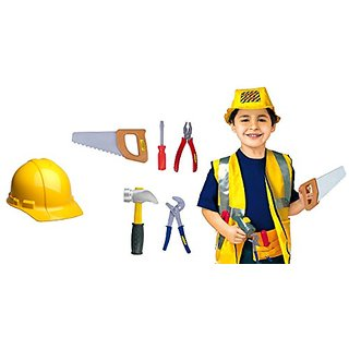 Construction Worker Dress Up Costume Role Play Set with Accesories by Le Shong