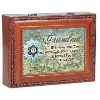 Grandma Grandmother Wisdom Grace Family Woodgrain Traditional Music Jewelry Box Plays Wind Beneath My Wings