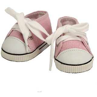 BUYS BY BELLA Pink Canvas Sneakers for 18 Inch Dolls Like American Girl