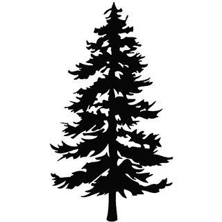 Tree Evergreen - Plant Decal [12cm Black] Vinyl Sticker for Car, Ipad, Laptop, Helmet