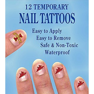 IOWA STATE CYCLONES NAIL DECALS-IOWA STATE TATTOOS FOR NAILS-12 PACK
