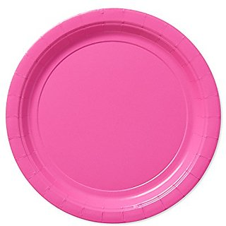 American Greetings Round Plate (20 Count), Bright Pink, 9
