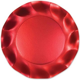 Satin Red Large Plates Party Accessory (1 count) (10 Pkg)