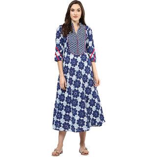 Jaipur Kurti Blue Printed Cotton Stitched  Kurti