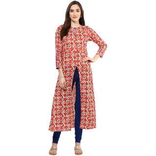 Jaipur Kurti Red Printed Cotton Stitched  Kurti