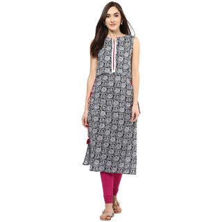 Jaipur Kurti Black Printed Cotton Stitched  Kurti