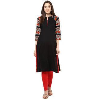 JaipurKurti Black Printed Cotton Straight Kurti