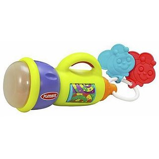 Activity flashlight designed especially for little hands and has teethable fireflies, multi-colored, dancing lights and