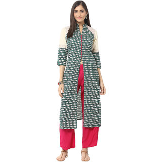 Jaipur Kurti Green Embroidered Cotton Kurta with Palazzo