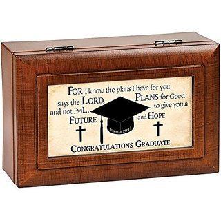 Cottage Garden Graduate For I Know Woodgrain Petite Music Box Jewelry Box Plays Pomp & Circumstance