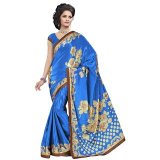 RK FASHIONS Blue Turkey Silk Party Wear Printed Saree With Unstitched Blouse - RK230332