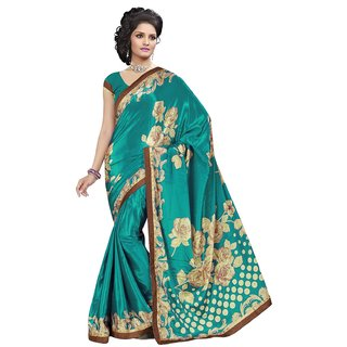 RK FASHIONS Turquoise Turkey Silk Party Wear Printed Saree With Unstitched Blouse - RK230342