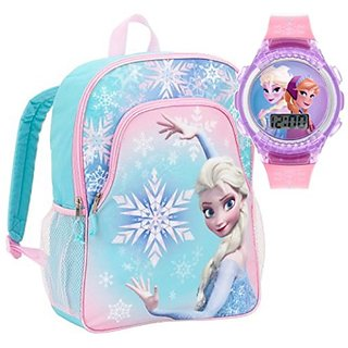 Disney Frozen Kids Elsa Backpack and Flashing Digital Watch
