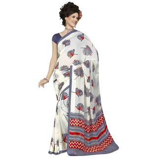 RK FASHIONS Beige Georgette Party Wear Printed Saree With Unstitched Blouse - RK227092