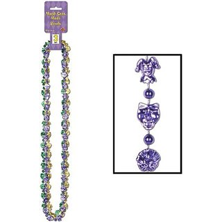 Mardi Gras Mask Beads (asstd gold, green, purple) (3 Card)