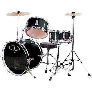 GP Percussion GP50BK Complete Junior Drum Set (Black, 3-Piece Set)
