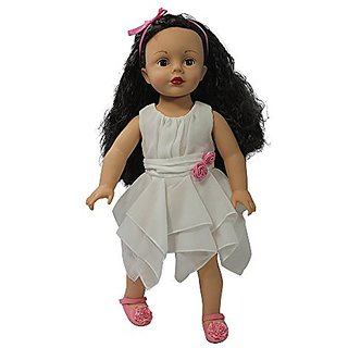 Arianna Chiffon Blissful White Dress Pink Roses Dress Fits 18 Inch American Dolls