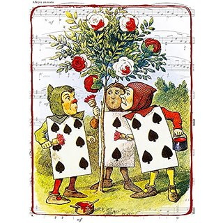 11x14 Alice in Wonderland Print, Painting the White Roses Red, John Tenniel Illustration, Giclee Print 11x14