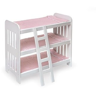 Includes: Triple bunk, ladder, 3 pink white gingham pads-Accommodates dolls up to 20
