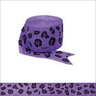 Amscan Wild New Leopard Printed Crepe Streamer, 81, Purple Black