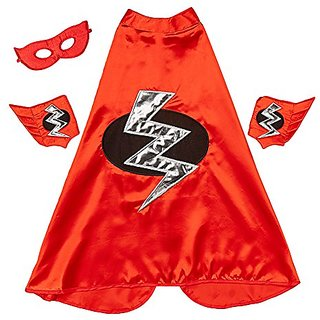 Red Lightning Bolt Cape, Cuffs & Eyemask Set