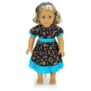 Blue Flower School Dress and Headband Doll Clothes