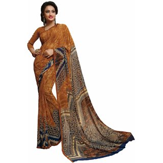 Sudarshan Silks Gold Crepe Self Design Saree With Blouse