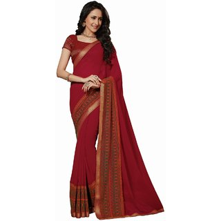Sudarshan Silks Red Polyester Self Design Saree With Blouse