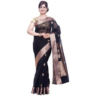 Sudarshan Silks Black Chiffon Self Design Saree With Blouse