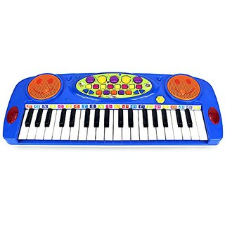 VT Happy Face 37 Keys Electric Organ Childrens Kids Battery Operated Toy Piano Keyboard Instrument (Blue) by Velocity To