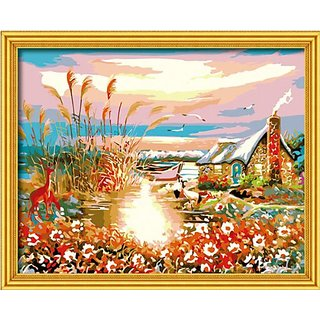 Diy oil painting, paint by number kit- Sunset 1620 inch.