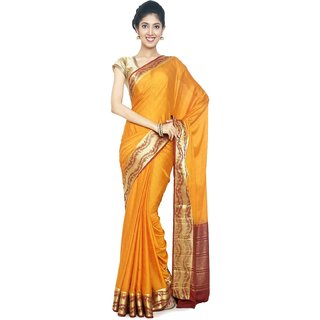 Sudarshan Silks Yellow Self Design Synthetic Saree with Blouse