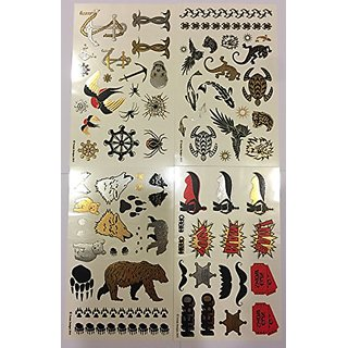 Temporary Tattoos - 4 Pages of Fun Metallic Temporary Tattoos for Kids (Boys and Girls) - Black, Silver, Red & Gold Tatt