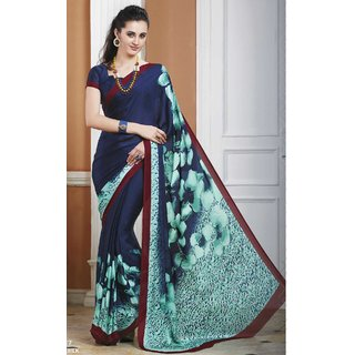 Sudarshan Silks Blue Crepe Printed Saree With Blouse