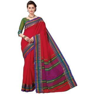 Sudarshan Silks Red Raw Silk Plain Saree With Blouse
