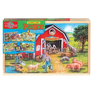 T.S. Shure Country Farm 4 Large Puzzles in a Wooden Box