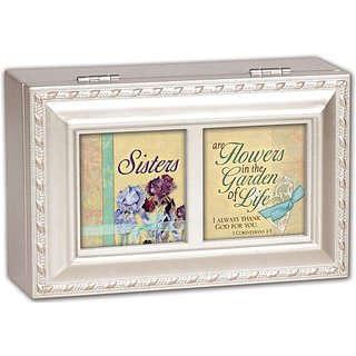 Cottage Garden Sisters Woodgrain Petite Music Box Jewelry Box Plays Friend In Jesus