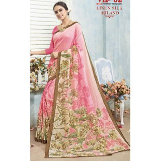 Sudarshan Silks Pink Linen Printed Saree With Blouse