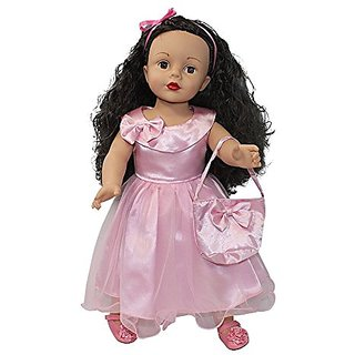 Arianna Doll Pink Satin Party Bow Dress matching Handbag Fits 18 inch American Girl Dolls