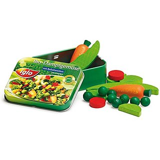 Erzi Pretend Play Wooden Grocery Shop Merchandize Vegetables Iglo In A Tin, 18 Pc