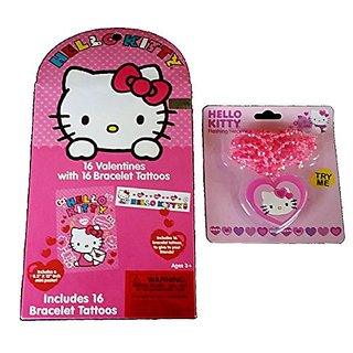 Hello Kitty Valentines Bundle - 2 Items - 16 Valentines with 16 Bracelet Tattoos, Flashing Necklace BONUS Poster!