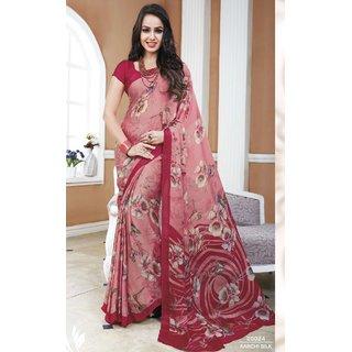Sudarshan Silks Pink Crepe Printed Saree With Blouse