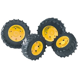 Bruder Twin Tires with Yellow Rims for 03000 Tractor Series