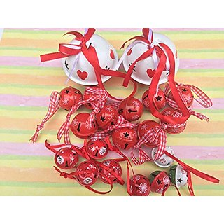 20 Gorgeously Painted Red Bells, Heart Theme in Color and Size Combinations - Set of 20