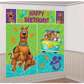Awesome Scooby Doo Scene Setters Wall Dec Kit Birthday Party Decoration, 59 x 65